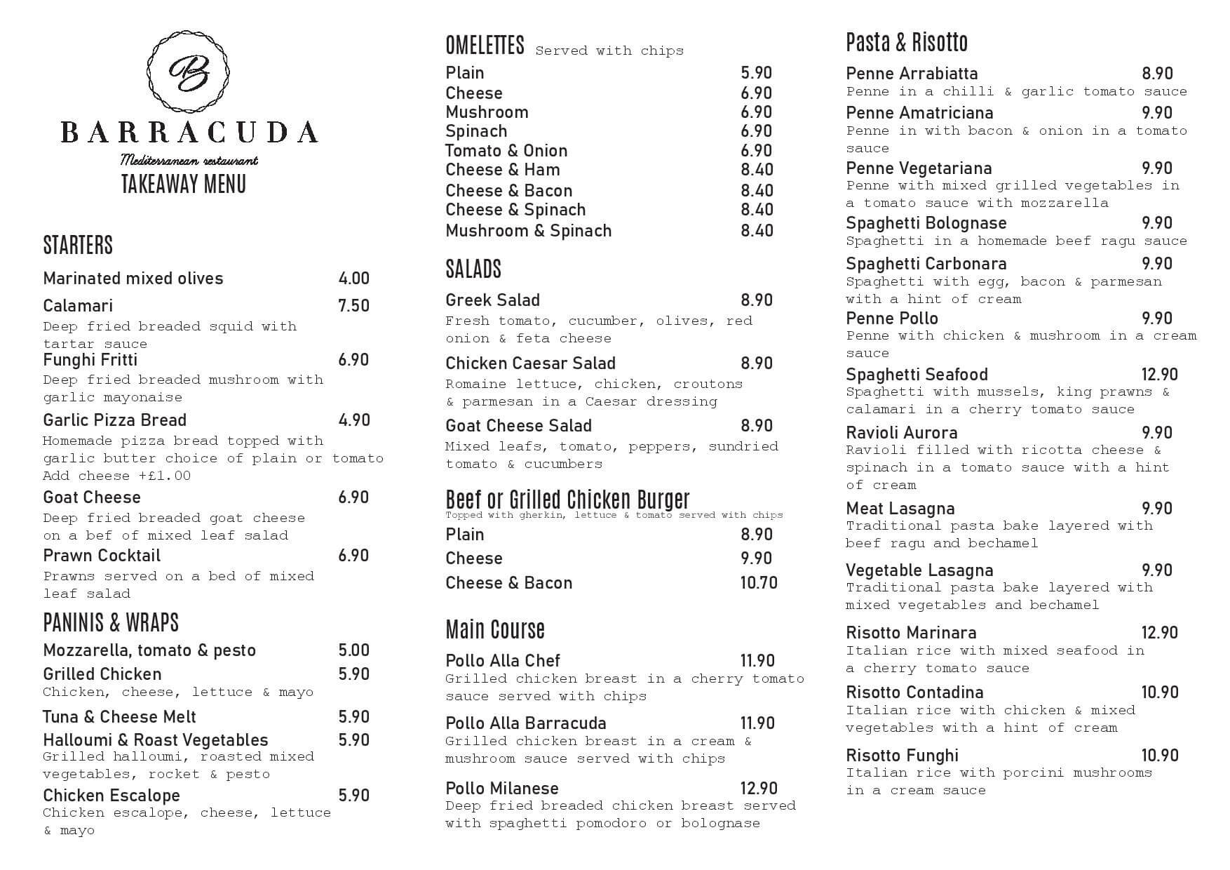 Barracuda Bushey Takeaway Menu