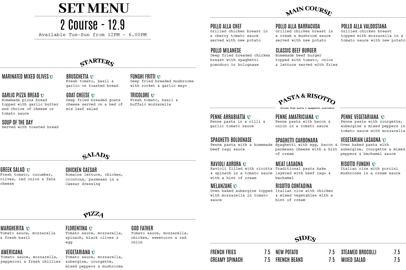 Barracuda Restaurant Bushey Set Menu
